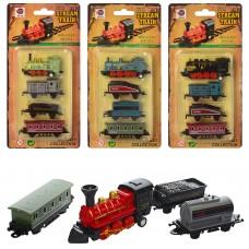 Поезд LY517 металл, инерционный, локомотив, вагоны 3шт, от 6см, 4вида