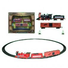 ЖД 1600A-3A диам.103, 5см, локомотив, вагон2шт, звук, свет, 17 деталей