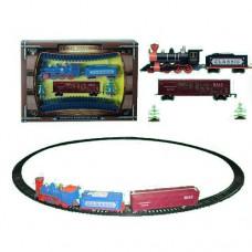 Детская железная дорога 1600A-3B диам.103, 5см, локомотив, вагон2шт, звук, свет
