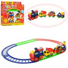 Детская железная дорога 19016 B паровоз работает от 1-й батарейки АА, вагончики 3шт, 2 цвета, батарейки в комплект не входят