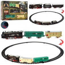 Детская железная дорога 19058-1-2 локомотив 15см, вагон 2шт, зв, св, 11 деталей, 2вида, на батарейках