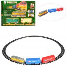 Детская железная дорога 19059-1-2 локомотив 16см, вагон 2шт, звук, свет, 2вида, на батарейках