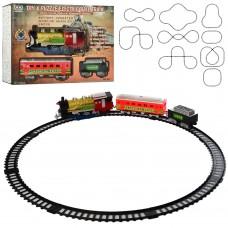 Детская железная дорога 241 локомотив23см, вагоны 3шт, звук, свет, дым, 38 деталей, на батарейках