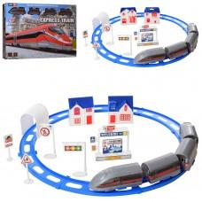 Детская железная дорога JHX2014-08 локомотив, вагоны, вокзал, 24 деталей, на батарейках