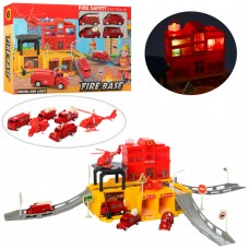 Гараж XF16-02 пожарн, звук, свет, транспорт 5шт, инерц