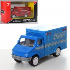 Машина AS-2243 АвтоСвіт, металл, инерционная, 9, 5см, рез.колеса, 3вид полиция 2цв