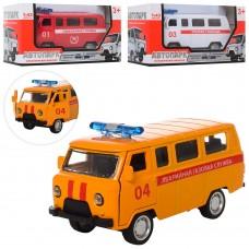 Машинка 5768-ABC металл, инер, 10, 5см, 1:43, откр.дв, 3в скорая, пожарн, газ.сл, кор