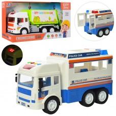 Машинка 8030-6A-7A инер, муз, зв, свет, 2вида полиция25см, мусоровоз31см, бат, кор