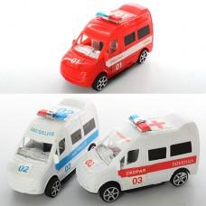 Машинка R366-9 инерционная, 3 вида скорая, полиция, пожарнаяке