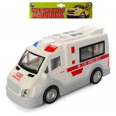 Машинка T584-D6142ST66-03 скорая помощь, инерционная, 17см, звук, свет, бат табл