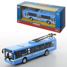 Троллейбус 6407B металл,  инерционный, 16-4, 5-3, 5см, 1:72, рез.колеса