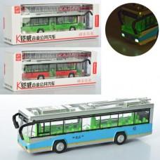 Троллейбус MS1522N металл,  инерционный, 22см, муз, зв, св, открыв.дв, 3цв, бат таб