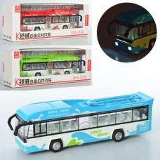 Троллейбус MS1602A металл,  инерционный, 22см, муз, зв, св, открыв.дв, 3цв, бат таб