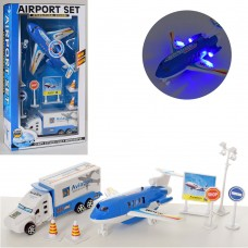 Аэропорт 238E-4 самолет/машина, 16см, дорожные знаки, звук, свет, бат-таб