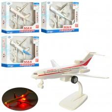 Самолет H109-109-1 металл, инер, 19см, подставка, звук, свет, микс вид, бат таб