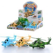 Вертолет 7703  инерционный, 18см, звук, свет, вращ.пропеллер, бат табл, 6шт 3цв