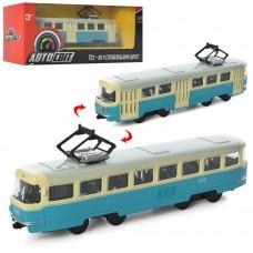 Трамвай AS-1830 АвтоСвіт 1:87, металл,  инерционный, 16, 5см