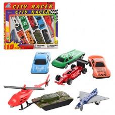 Набор транспорта 92753-10 PS жел, 10шт6, 5см машин7шт, вертол, самол, танк