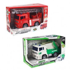 Машина 661-01-01A инерционная, 1:20, от17см, 2вида пожарная, мусоровоз