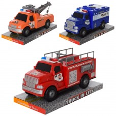 Машинка 328-41-42-43 инерционная, 21, 5см, 3вида полиция, пожарн, эвакуатор, в слюде