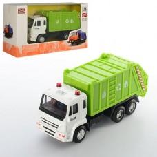 Машинка 6512C металл, инерционная, мусоровоз, 14см, 1:54, рез.колеса