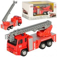 Машинка 6514B металл, инерционная, пожарная, 14см, 1:54, подв.стрела
