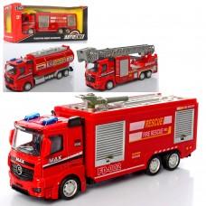 Машинка AS-2124 АвтоСвіт, металл, инерционная, пожарная, 1:43, 20см, 3вида