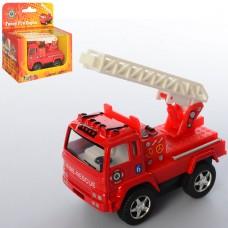 Машинка KS 3507 W металл, инерционная, пожарная, 8см, резин.колеса, открыв.двери