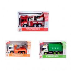 Машинка WY320A-40F-50C инерционная, 26см, 1:16, звук, свет, рез.колеса, 3вида пожарная, мусоровоз, эвакуатор, бат табл