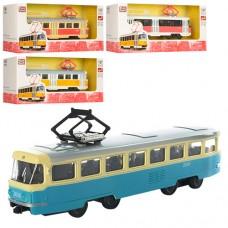 Трамвай 6411ABCD 16, 5см, жел, инерционный, 1:54, 4 вида