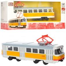 Трамвай 6411B металл,  инерционный, 1:54, 16, 5см