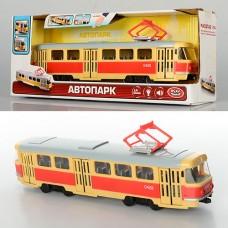 Трамвай 9708-A 28-10-6см, 1:54, зв рус, свет, двери откр, на батарейках табл