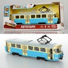 Трамвай 9708-C 28-10-6см, 1:54, зв рус, свет, двери откр, на батарейках табл