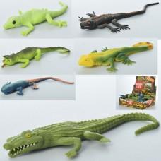 Животное A115-DB ящерица/крокодил, 27см, 48шт 6видов
