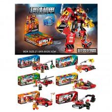 Конструктор 103093-103098 пожарная техника, фигурка, от98 деталей, 6шт 6видов