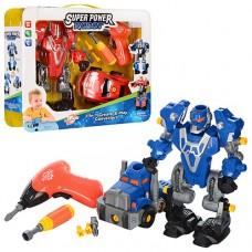 Конструктор 1501-02 робот23см, машинка14см, шуруповерт свет, на батарейках, 2вид