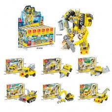 Конструктор 21016-4 робот+стройтехника, от76 деталей, 6шт 6видов