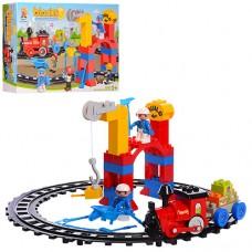 Конструктор 222-H61 поезд, фигурки, желез.дорога, 53 деталей, звук, на батарейках