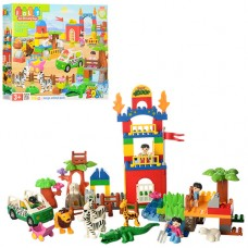 Конструктор 5028 зоопарк, машинка, фигурки, животные, 116 деталей,