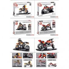 Конструктор 701100-701101 мотоцикл на подствке, 2вида 171 и 209дет