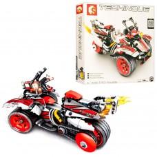 Конструктор 701700 2в1 мотоцикл, трицикл,  инерционный, 511дет
