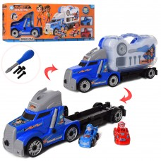 Конструктор HY225K RS, на шурупах, трейлер42см, транспорт с фигур, 8см, 2шт