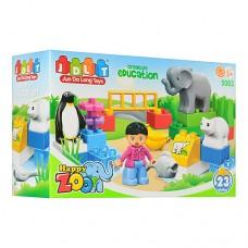 Конструктор JDLT 5083 зоопарк, фигурка, животные слон, пингвин, медведь, рыбка, бананы, 23дет 28-19-9см