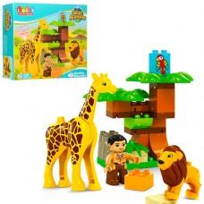 Конструктор JDLT 5289 зоопарк, фигурка, лев, жираф-звук, бат табл, 26дет