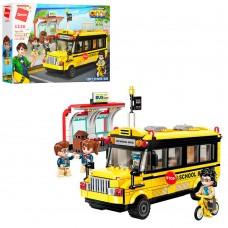 Конструктор Qman 1136 город, школьный автобус, фигурки, 440дет