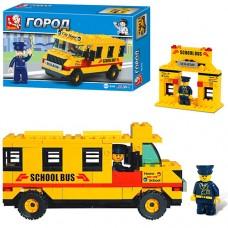 Конструктор SLUBAN 303213 RM 38 B 100 Конструктор SLUBAN 303213RM38B100 72шт школьный автобус, 105  деталей, фигурка, 20-13-5см