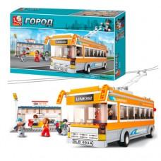 Конструктор SLUBAN M38-B0332 троллейбус, остановка, фигурки 5шт, 465дет
