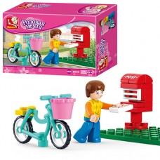 Конструктор SLUBAN M38-B0516 фигурка, велосипед, почт ящик, 29дет