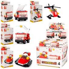 Конструктор SLUBAN M38-B0593 транспорт пожарн, 8шт 4вида