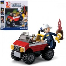 Конструктор SLUBAN M38-B0621 пожарный, джип, фигурка, 58дет